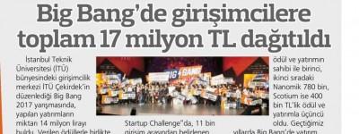 BIG BANG'DE GİRİŞİMCİLERE TOPLAM 17 MİLYON TL DAĞITILDI